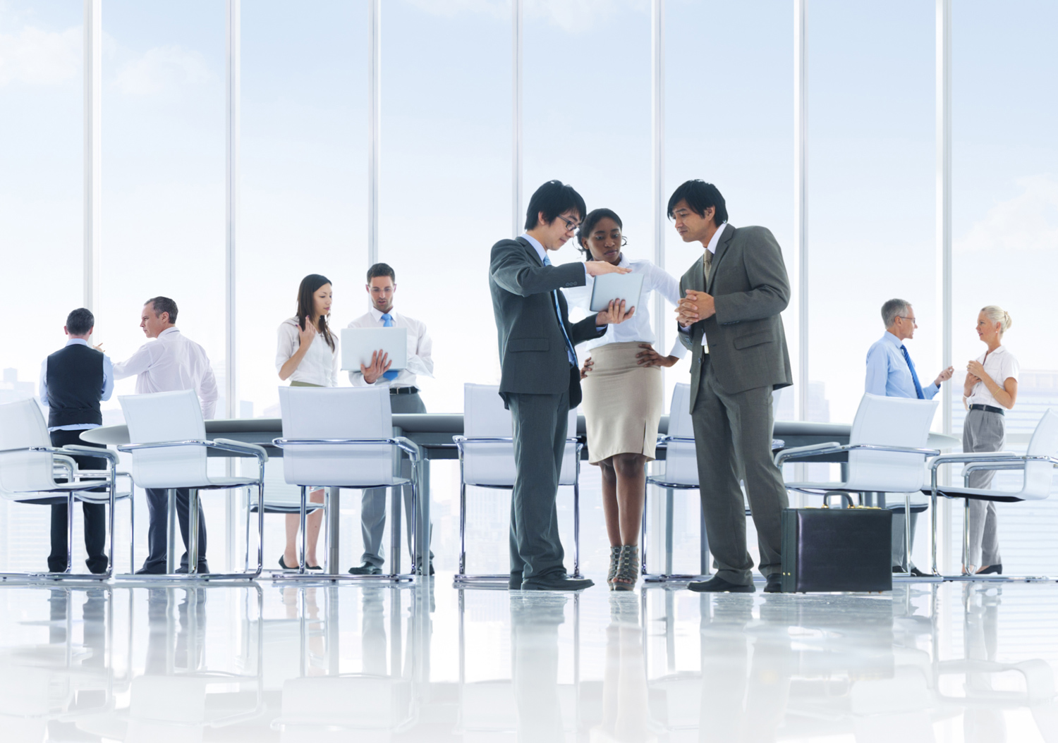 Business people meeting in a sleek office space