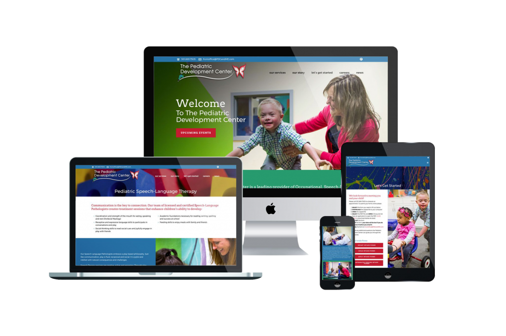 The Pediatric Development Center Website Design on different devices