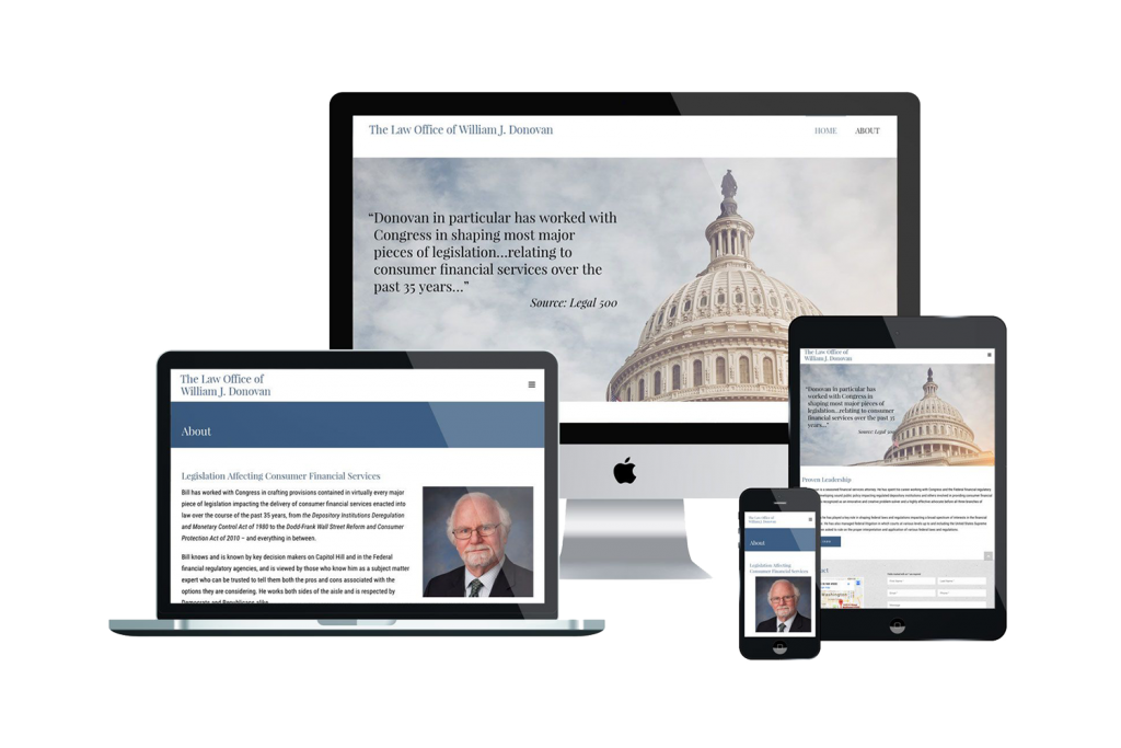 Law Office of William J. Donovan Website on Different Devices
