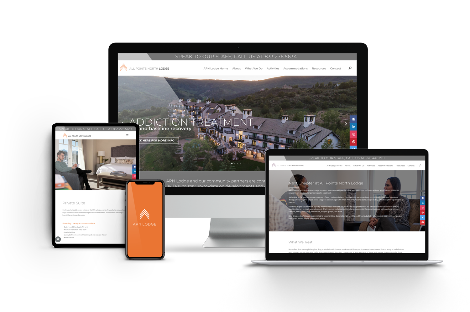 APN Lodge Website on Different Devices